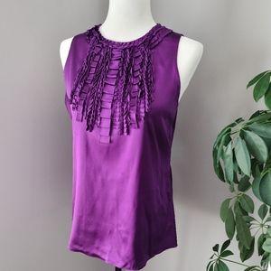 Elie Tahari silk ruffle front sleeveless top